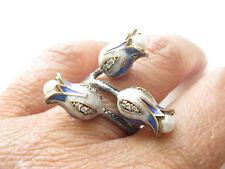 Turkish 925 Sterling Silver Blue Enamel Tulip Pearl Cubic Zirconia Ring Sz 7