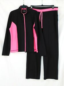 NWT BE INSPIRED Ladies Size XL Active-wear 2 piece set Pink & Black Track Suit