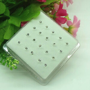 20X Solid Sterling silver White Crystal 2MM Straight Bar Rod Nose Stud Wholesale