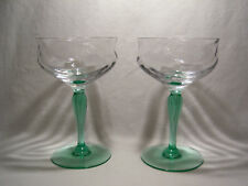 2 Vintage Tiffin Green Stem Clear Festoon Optic Bowl Champagne / Tall Sherbets