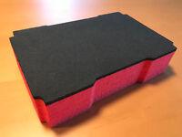 Koffereinlage Hartschaum f. Tanos FESTOOL MINI-systainer T-Loc, grau rot 60mm