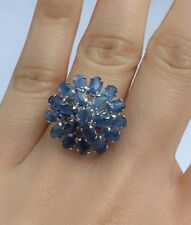 Solid .925 Silver Flower Cluster Ring, Natural Sapphire, Size 6.25. 8.24 Grams