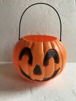 Blow Mold Halloween Black and Orange Pumpkin Candy Pail Union Products New