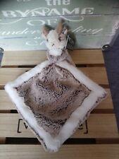 Doudou mouchoir chamois blanc fourrure marron chiné Création Dani neuf + cadeau