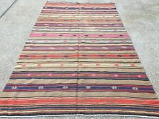 Antique Turkish Kilim Rug shabby vintage old wool country home Kelim 247x145cm