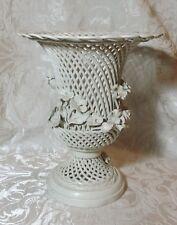 Stylish Vintage Italian Open Work Woven Ceramic Pedestal Vase 1930-50 Vaso Urna