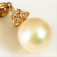 VINTAGE 14K YELLOW GOLD DESIGNER SIGNED DANGLE PEARL TRIPLE DIAMOND PENDANT ~1G