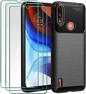 For Motorola Moto E7i Power Case Carbon Slim Cover & Glass Screen Protector