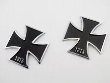 Metal Black 1813 Iron Cross Emblems Decal Sticker Motorcycle Tank Fender Custom