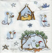 4x PAPER NAPKINS for Decoupage MOUSE CRIB CHRISTMAS CUTE