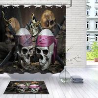 Halloween Pirate Skull Knife Bathroom Waterproof Fabric Shower Curtain Set Hooks