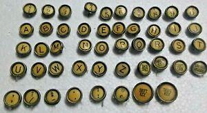 LOT OF 48 ANTIQUE WOODSTOCK TYPEWRITER KEYS STEAM PUNK, CRAFTS BLACK ON CREAM