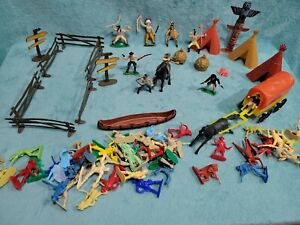 Vintage Western Play Set Plastic Cowboys Miners Indians Wagon Horses and more