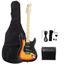 New 22 Frets ST Burning Fire Electric Guitar Sunset+Bag+15 AMP Guitar Amplifier