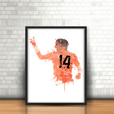 Johan Cruyff-Países Bajos inspirado diseño de impresión arte de fútbol Holanda no. 14