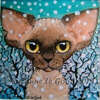 Devon Rex Cat art mounted signed print from original painting by Suzanne Le Good