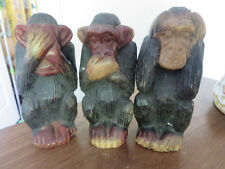 "Vintage Hand Carved Monkey's See No Evil Hear no Evil Speak No Evil 6"" Tall"