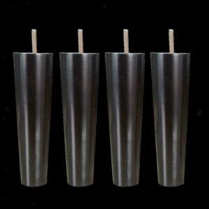 4Pcs Cone Shape Eucalyptus Solid Wood Furniture Sofa Legs Black 4.5*6.5*20cm