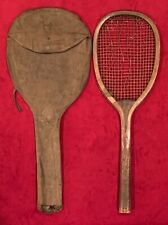 Antique Wright & Ditson Brand Transitional Flat Top Style Tennis Racquet & Bag