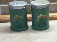"Vintage Tin Salt Pepper Shaker Metal Tin Spice Flowers 3"" Tall"