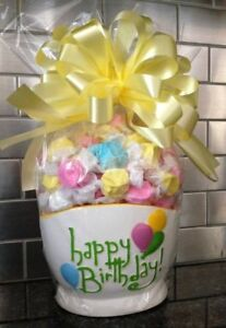 Happy Birthday Candy / Salt Water Taffy Gift Basket Wrapped With Yellow Bow-Card