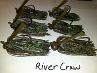 6 Pk. Weedless Football Head Bass Jigs Mustad Heavy Duty Hooks 1//2,3//4,1oz