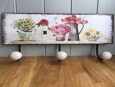 Pretty chic gastadas francés Ganchos placa/cartel De Pared Floral