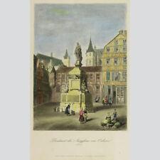 Denkmal der Jungfrau von Orleons (Rouen). Handkolorierter Stahlstich um 1860