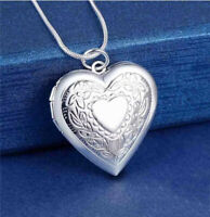 925 Silver Heart Photo Locket Pendant Necklace  Chain Party Jewellery For Women