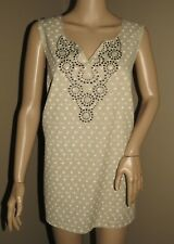 NWT ELEMENTZ 2X BEIGE TAUPE WHITE FLORAL STUDD CUT OUT SLIT LINEN TUNIC TANK TOP