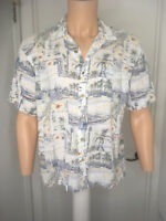 Boca Classics Island  mens cotton rayon  boat palms  button  hawaiian  shirt  m