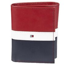 Tommy Hilfiger Men's Leather Passcase Trifold Rfid Wallet 31TL110022 Red Navy