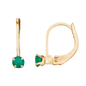 0.36 Ct Round Emerald 14K Yellow Gold Latch Back Earrings