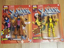 "HASBRO MARVEL LEGENDS  RETRO X-MEN ROGUE AND GAMBIT 6"" IN HAND! MOC"