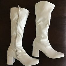 White Go Go Boots S Sz 5-6 Costume Cosplay 60s Theme Halloween Rubies