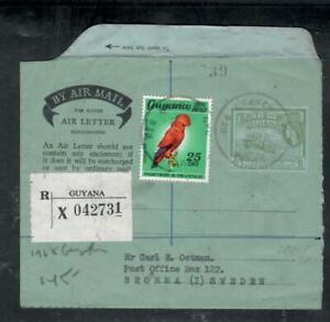 BRITISH GUIANA  (P1Q910B) 1968  AEROGRAMME QEII 6C+BIRD 25C REG G'TOWN   TO USA
