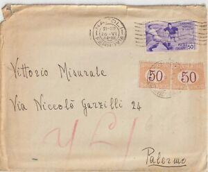 26/6/1934 50C CAMPIONATO MONDIALE DI CALCIO SU BUSTA DA NAPOLI TASSATO A PALERMO