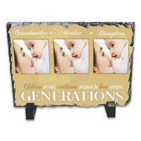 Personalised Generations - Three Images Rock Slate Photo Frame - Rectangle