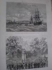 Blockade at Whydah Ouidah Benin RMS Africa and HMS Sirius 1877 print ref W