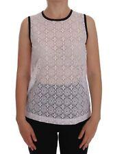 NEW $550 DOLCE & GABBANA T-shirt White Lace Floral Nylon Tank Top s. IT42 / M