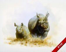 WILD RHINO RHINOCEROS AFRICAN WILDERNESSANIMAL AFRICA ART REAL CANVAS PRINT