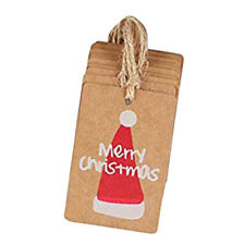 100 Pcs Merry Christmas Gift Tags Gift Wrap Tags Labels with Strings Decor