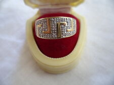 VINTAGE GOLD MODERNIST RING SIZE S or 9 MOD WIDE GEOMETRIC BAND WHITE SAPPHIRES