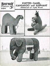 Vintage Toy Camel, Kangaroo & Elephant knitting pattern. Laminated copy
