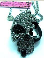 NEW Betsey Johnson Retro black Skull pendant necklace