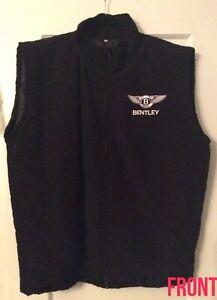 BENTLEY Motors Custom-made Black Nylon Metallic Embroidered Zip Vest Lined LARGE
