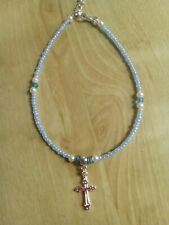 With cross and Crystals Baby blue Bead anklet/ankle Bracelet