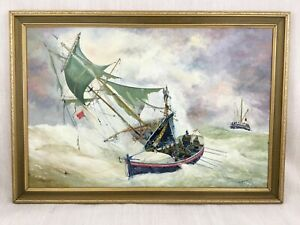 Sea Painting Marine Art RNLI Lifeboat Tall Ship Signed Original Oil on Canvas