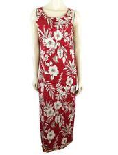 f8bc9f53bb2 Pineapple Moon sleeveless Maxi red multi-colored floral Hawaiian silk dress  sz M