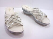 COLE HAAN Sandals Womens Air Slides Size 8.5 AA White Silver Wedge D37993.